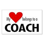 Heart belongs, coach Rectangle Sticker