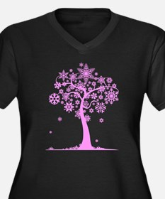 Winter Snowflake Tree Women's Plus Size V-Neck Dar