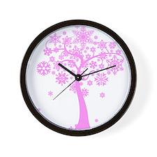 Winter Snowflake Tree Wall Clock
