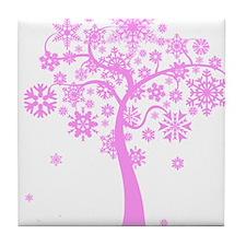 Winter Snowflake Tree Tile Coaster
