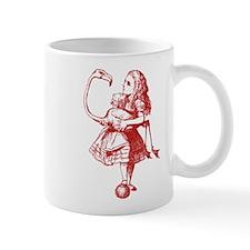 Alice and Flamingo Red Mug