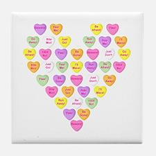 Curmugeon Candy Hearts<br> Tile Coaster