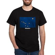 Alaska State Flag (Front) Black T-Shirt