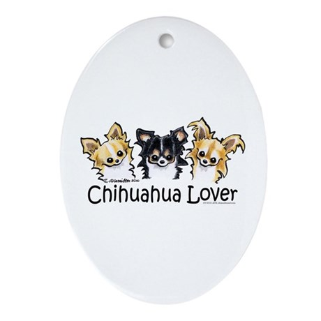 Longhair Chihuahua Lover Ornament (Oval)