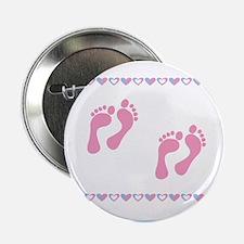 "Twin Footprints - Pink 2.25"" Button"