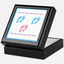 Triple Set of Footprints - 2 Keepsake Box