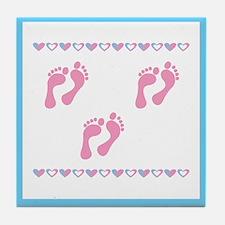 Triple Set of Footprints - Pi Tile Coaster