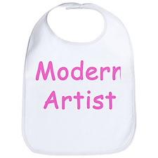 Funny Baby Girl MODERN ARTIST pink text Bib