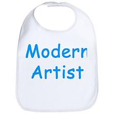Funny Baby Boy MODERN ARTIST blue text Bib