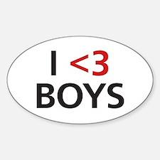 I <3 Boys Sticker (Oval)