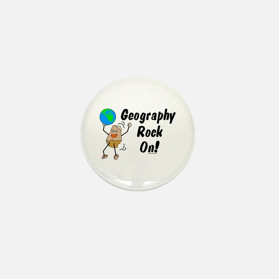 Geography Rock On Mini Button