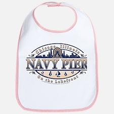 Navy Pier Oval Stylized Skyline design Bib