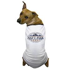 Navy Pier Oval Stylized Skyline design Dog T-Shirt