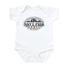 Navy Pier Oval Stylized Skyline design Infant Body
