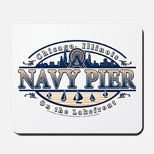 Navy Pier Oval Stylized Skyline design Mousepad