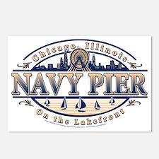 Navy Pier Oval Stylized Skyline design Postcards (