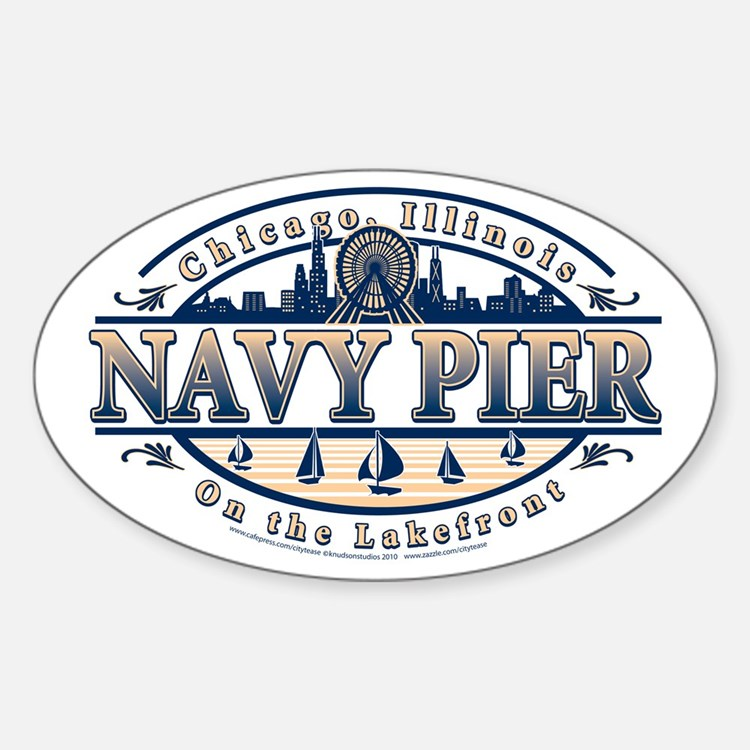 Navy Pier Oval Stylized Skyline design Decal