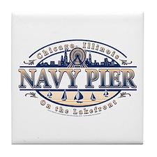 Navy Pier Oval Stylized Skyline design Tile Coaste