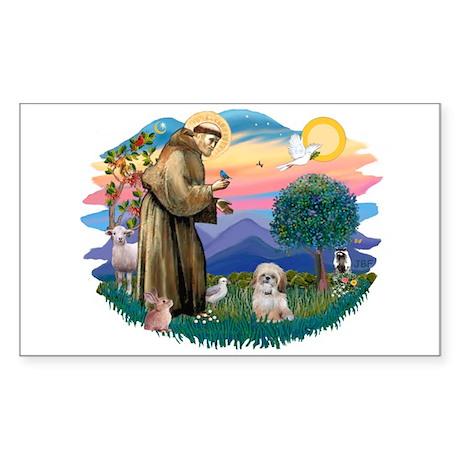 St Francis #2 / Shih Tzu. (P) Sticker (Rectangle)