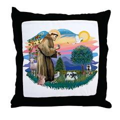 St Francis #2 / Shih Tzu (A) Throw Pillow