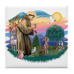 St Francis #2 / Weimaraner Tile Coaster
