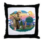 St Francis #2 / Weimaraner Throw Pillow