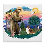 St. Francis #2 / Sheltie (sw) Tile Coaster