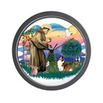 St. Francis #2 / Sheltie (sw) Wall Clock