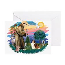 St. Francis #2 / Sheltie (sw) Greeting Card