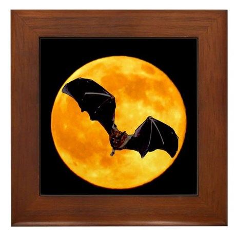 BLACK BAT SILHOUETTE Framed Tile