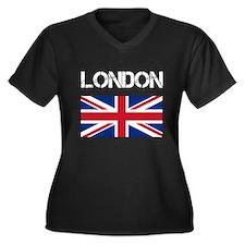 London Union Jack Women's Plus Size V-Neck Dark T-