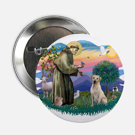 """St. Francis #2 / Yellow Lab 2.25"""" Button"""