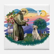 St. Francis #2 / Yellow Lab Tile Coaster