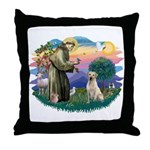St. Francis #2 / Yellow Lab Throw Pillow