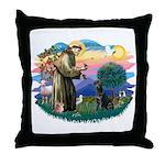 St.Francis #2 / Black Lab Throw Pillow