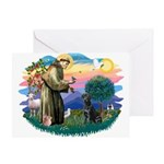 St.Francis #2 / Black Lab Greeting Card