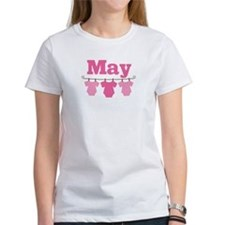 Pink May Baby Announcement Tee