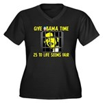 Give Obama Time Women's Plus Size V-Neck Dark T-Sh