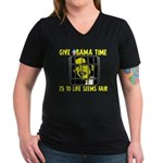 Give Obama Time Women's V-Neck Dark T-Shirt