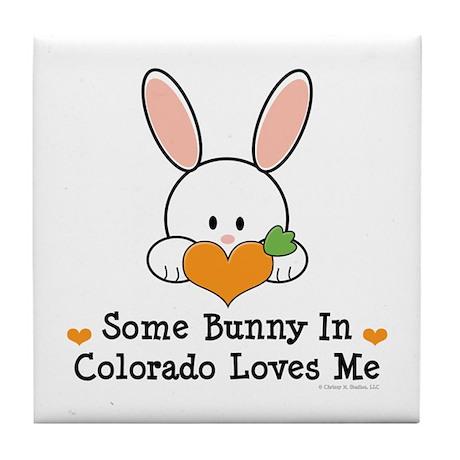 Some Bunny In Colorado Loves Me Tile Coaster