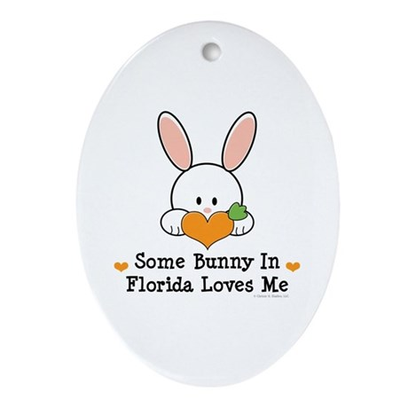 Some Bunny In Florida Loves Me Ornament (Oval)