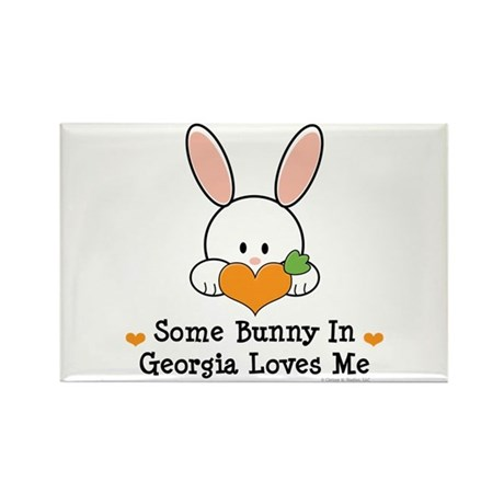 Some Bunny In Georgia Loves Me Rectangle Magnet (1
