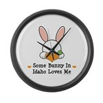 Some Bunny In Idaho Loves Me Large Wall Clock