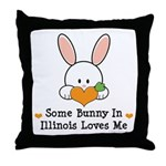Some Bunny In Illinois Loves Me Throw Pillow