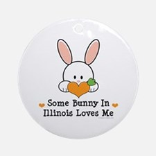 Some Bunny In Illinois Loves Me Ornament (Round)