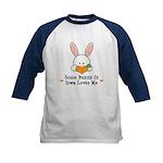 Some Bunny In Iowa Loves Me Kids Baseball Jersey