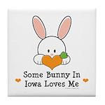 Some Bunny In Iowa Loves Me Tile Coaster