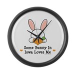 Some Bunny In Iowa Loves Me Large Wall Clock