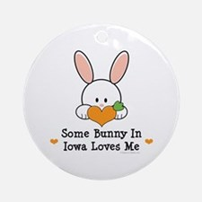 Some Bunny In Iowa Loves Me Ornament (Round)