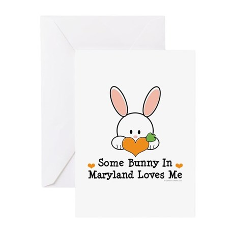 Some Bunny In Maryland Loves Me Greeting Cards (Pk